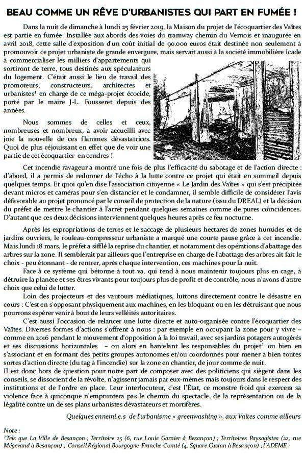 Besançon: beau comme un rêve d'urbanistes qui part en fumée !